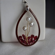 Natural Pearl Tree Of Life Garnet Waterdrop Resin Leather Pendant 925 Sterling Silver Chain Necklace Women Boho Fashion Jewelry