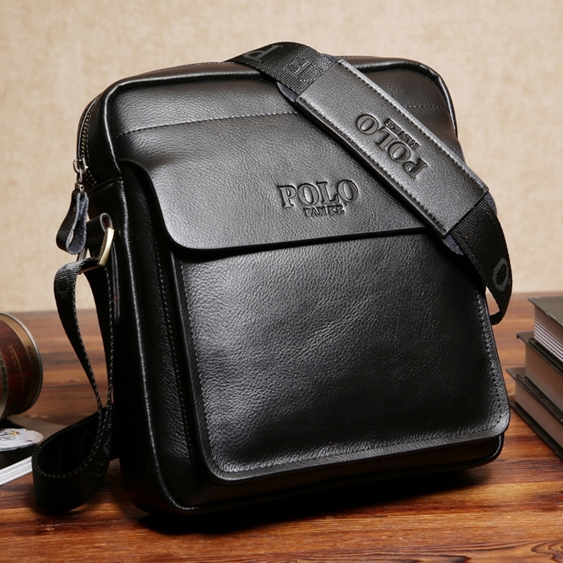 6bb5df80411e Новый модный бренд мужчины сумки Бизнес мужская сумка кожаная Повседневное  человек посыльного сумки Crossbody Портфель Сумка черный