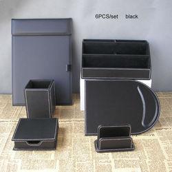 6 шт./компл., офисный органайзер для канцелярских принадлежностей, держатель для ручек, пенал, папка для файлов, a4, подставка для карт, чехол д...