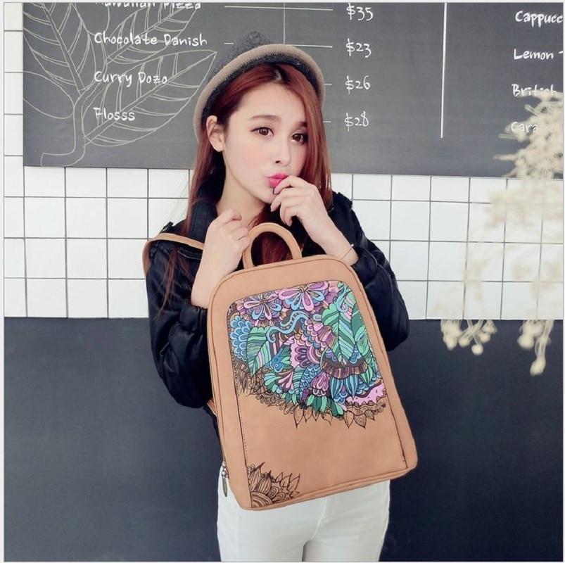 Backpacks PU Printing Backpacks Women School Bags for Girls fashion Bookbags Vintage Laptop Backpacks floral Female