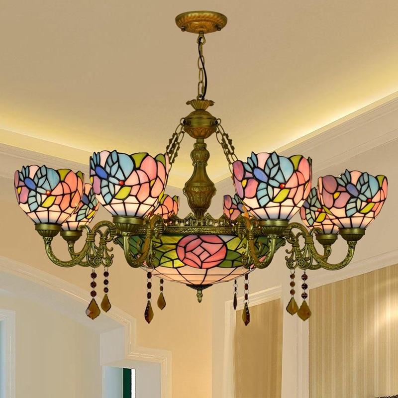 Europa vintage estilo tiffany vitrais lustre pássaro flor colorida sala de estar-sala de jantar de cristal bar pendurado luz
