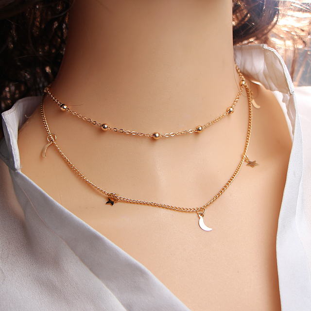 17KM Gold Color Star Moon Necklace for Women Multi Layer Leaf Steampunk Chokers