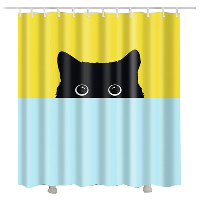 Cute cat printed 3d shower curtain