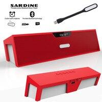 Sardine HIFI Red Portable Wireless Bluetooth Speaker Stereo Soundbar TF FM Radio Subwoofer Column For Computer