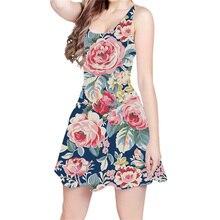 f83a5951915 Rose Blumen 3D All Over Print Kurzkleid Hipster Mode Frauen Casual Kleid  Dropship US Größe(
