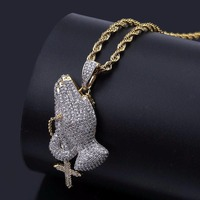 Praying Hands Cross Pendants Necklaces Micro Paved CZ Rhinestone Men's Gold Bling Ice Out Hip Hop Rapper Jewelry