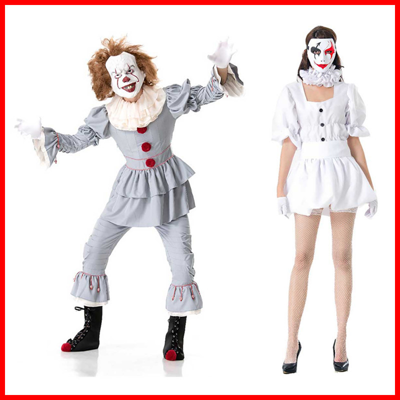 Stephen King/'s Joker Cosplay Costume Set Women Adult Men Pennywise Clown