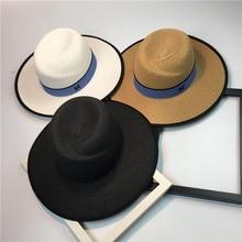 ozyc Hot sale summer sun hats for women M letter wide brim ladies straw hat beach vacation girls panama hat C-2780