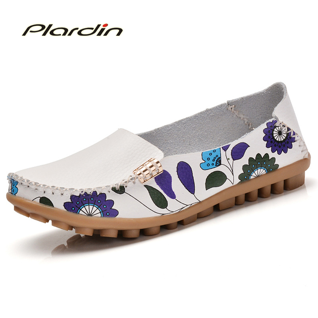 plardin 2017 Cow Muscle Ballet Summer Mixed Color Women Soft Genuine Leather Shoes Woman Flat Flexible Nurse Mother Loafer Flats