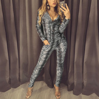 2019 Spring Plus Size Women Fashion Elegant Party Casual Coat&Pant Suit Sets Snakeskin Print Zipper Hooded Jacket&Pants Sets