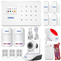 Kerui G18 Wireless Android ISO app GSM Text Home Alarm System Smart IP Security Camera with PIR Sensor Door gap Smoke Detector