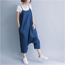 Rompers Womens Jeans Jumpsuit 2019 Summer Overalls Casual Loose Sleeveless Backless Playsuits Blue Denim Pants