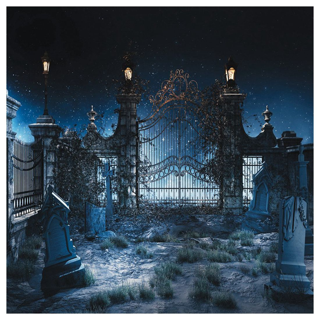 Halloween Vinyl Photography Backdrop Photo Background Studio Prop 5*7ft, Abandoned Garden abandoned villages