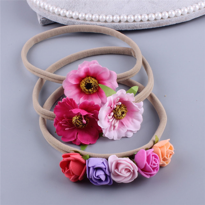 3PCS/Sets Infant Kids Baby Girls Boys Headband Flowers Cute Princess Headwear