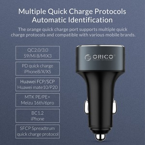 Image 5 - ORICO 33W 3 USB Ports Quick Charge QC 3.0 Car Charger for iPhone XR XS MAX 8 Samsung S10 Charger Mobile Phone Fast Car Charger