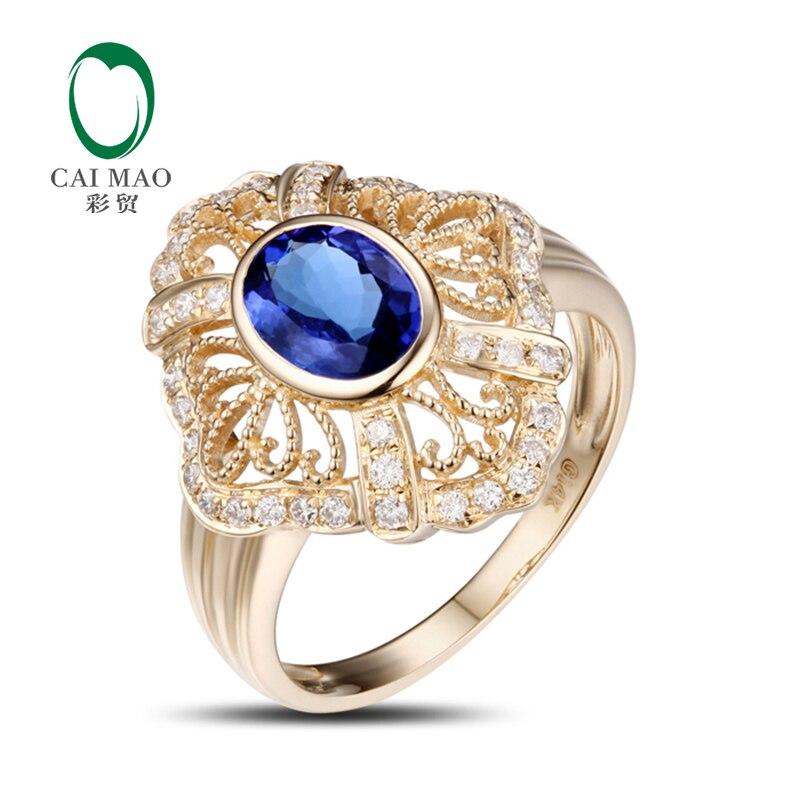 14 k žluté zlato 1.32ct oválný modrý tanzanitový diamantový zásnubní prsten