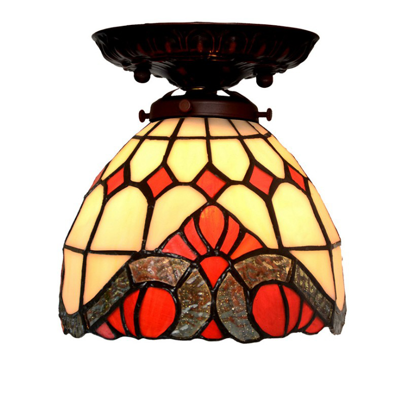 European Nordic Retro Vintage Home Baroque Stained Glass Small LED Plafonnier Ceiling Mounting Lamp Light Balcony Porch Lighting цена