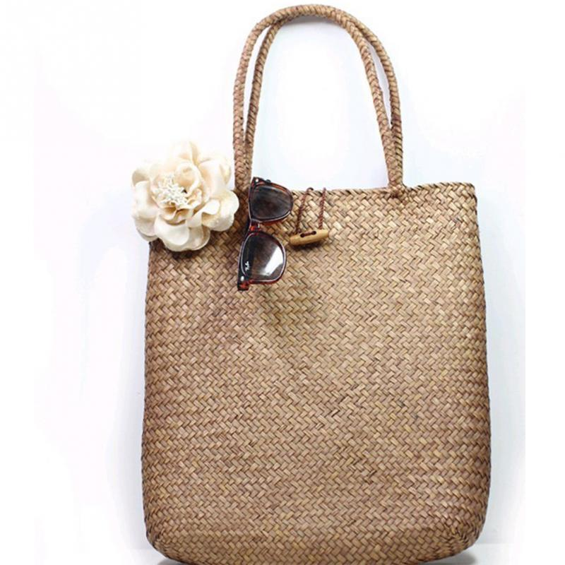 Retro Summer Beach Bag Handmade Cooler Braid Straw Large Tote Beach Shoulder Han