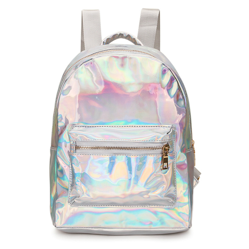 Harajuku Laser Women Backpack School Bags For Teenage Girls Designer High Quality Backpack Silver Travel Bags Holographic Small