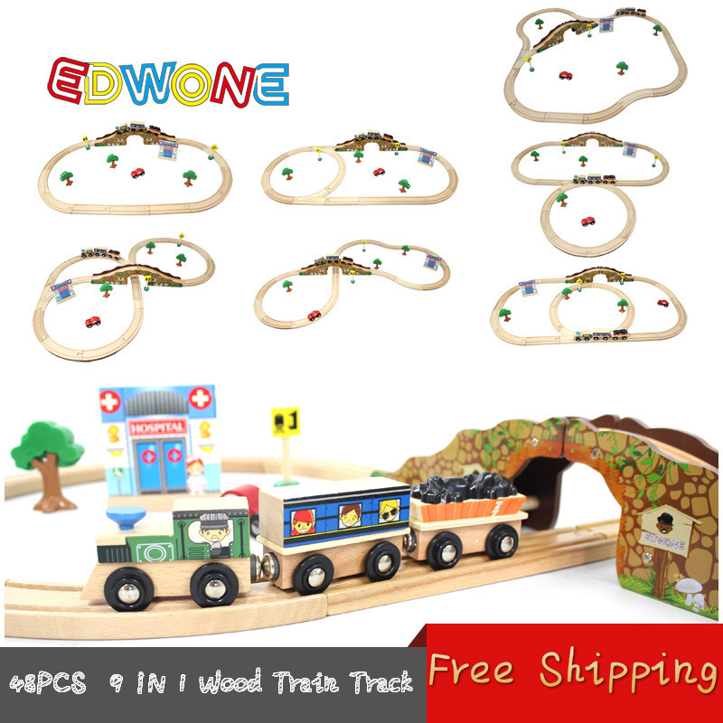 Thomas and Friends --48PCS Thomas Train Track Set 9IN1 Beech Wooden Railway Track EDWONE fit Thomas and Brio Gifts For Boy Kids