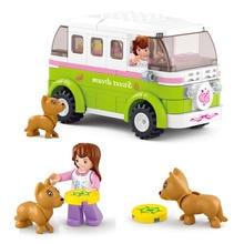 Sluban bloco de construção menina sonho amigos camper carro 158pcs tijolos educacionais brinquedo menino sem caixa de varejo