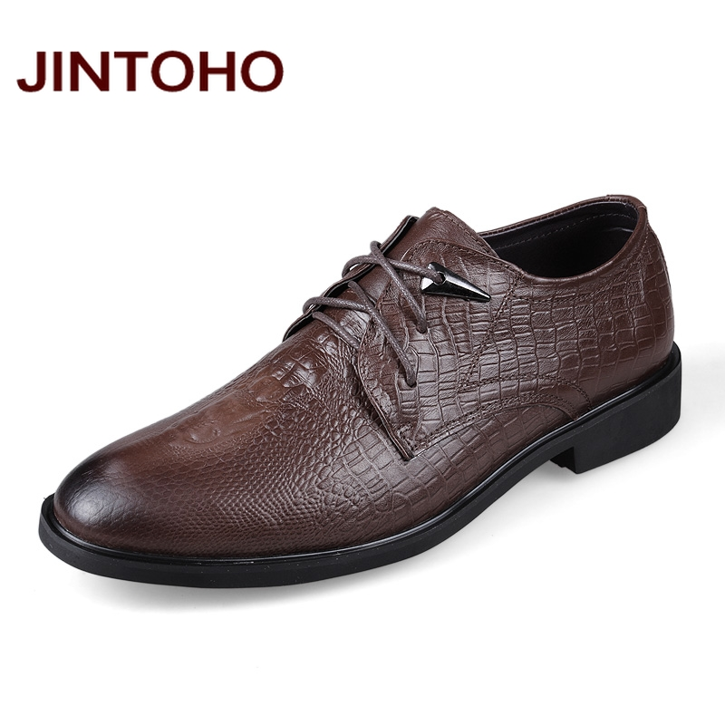 JINTOHO 2016 New Arrival Men Dress Shoes Pointed Toe Business Shoes For Men Crocodile Real Leather