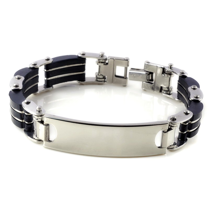 1pc Classic Fashion Black Silica Gel+ Silver Stripes Stainless Steel Cuff Bracelet Bangles for Men Jewelry 1