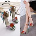Sandals Women 2017 Summer Ankle Strap High heels Sandals Floral Serpentine Open toe Buckle Ladies Sandals Womens Shoes Big Size