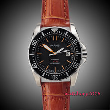 лучшая цена Parnis 43mm black dial ceramic bezel Sapphire glass miyota movement waterproof 200m automatic mechanical mens dive watch