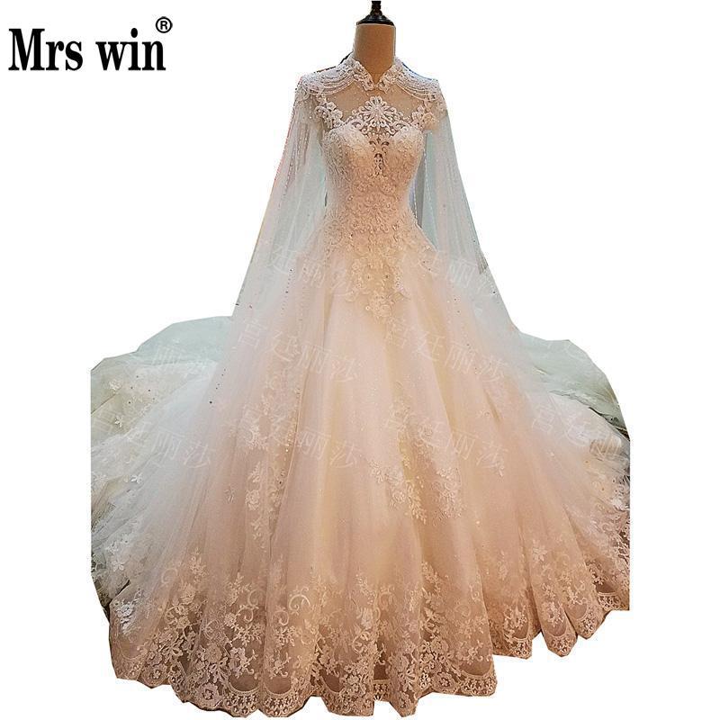 Wedding dress 2017 new the high end short sleeve high neck for High end wedding dress