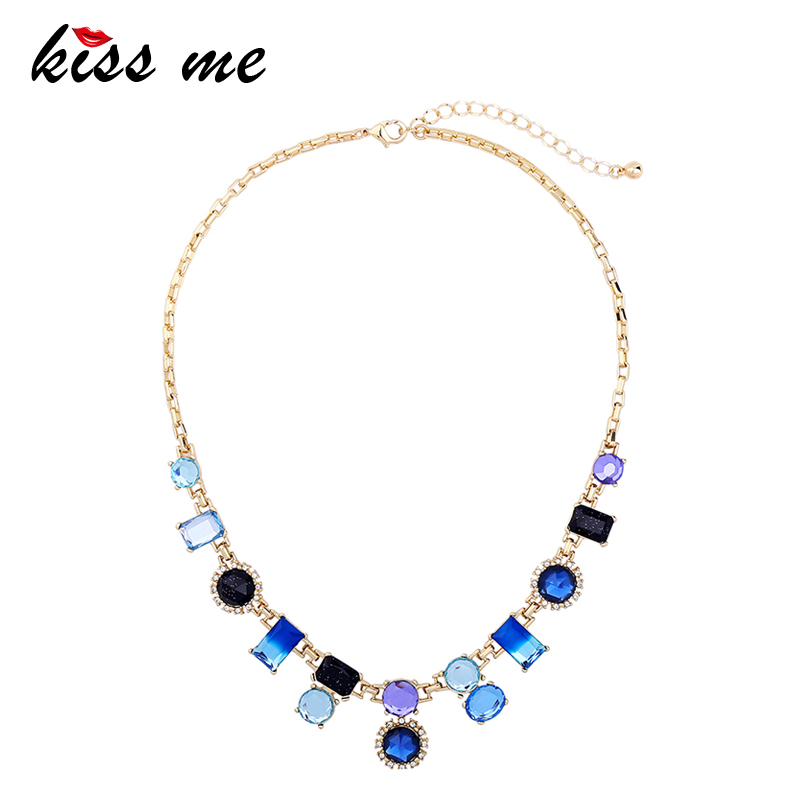 KISS ME Women Statement Necklace Trendy Multicolor Geometric Crystal Choker Necklace Women Jewelry