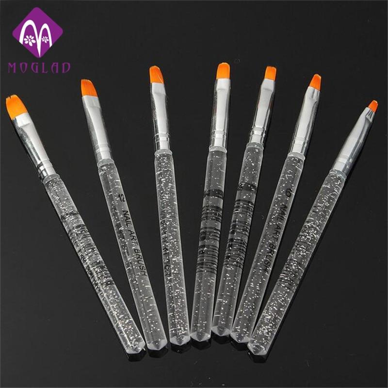 7PCS/set transparent crystal acrylic UV gel nail brushes nail art pen painting brush manicure tools manicure nail art brushes 15 piece set