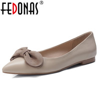 FEDONAS Elegant Women Flats Heels Genuine Leather Spring Autumn Shoes Woman Slip On Butterfly Knot Party Wedding Shoes Woman