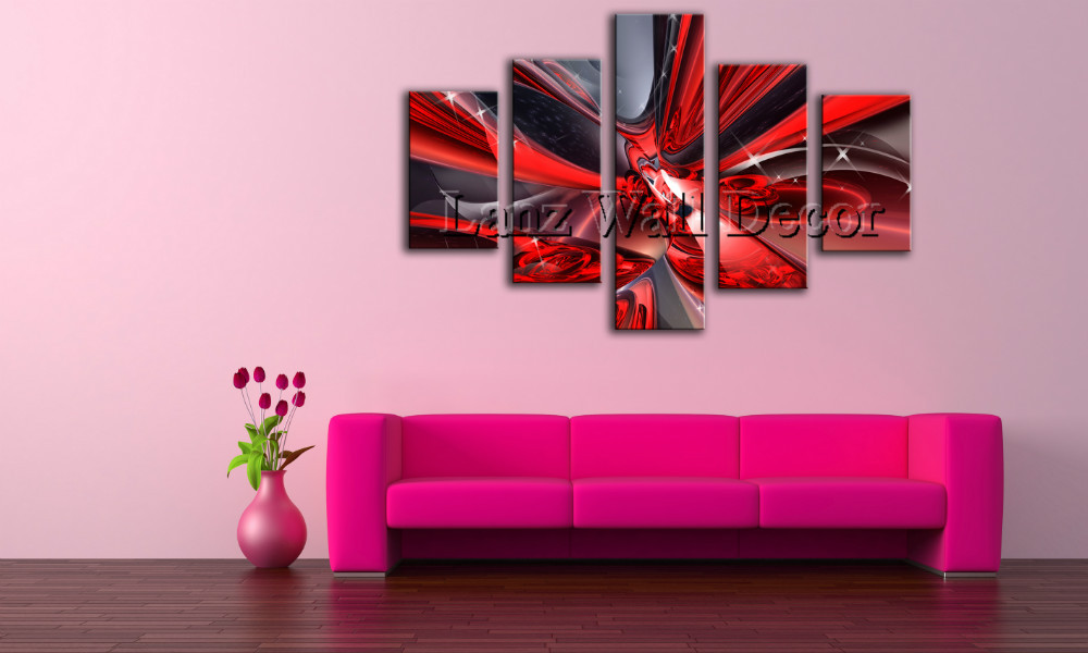 No wooden frame not ready to hang art canvas print abstract oil painting red black home decoration wall pictures for living room in painting calligraphy