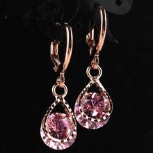 Trendy Water Drop CZ Crystal Earrings for Women Vintage Rose Gold Color Wedding Party Earrings Jewelry