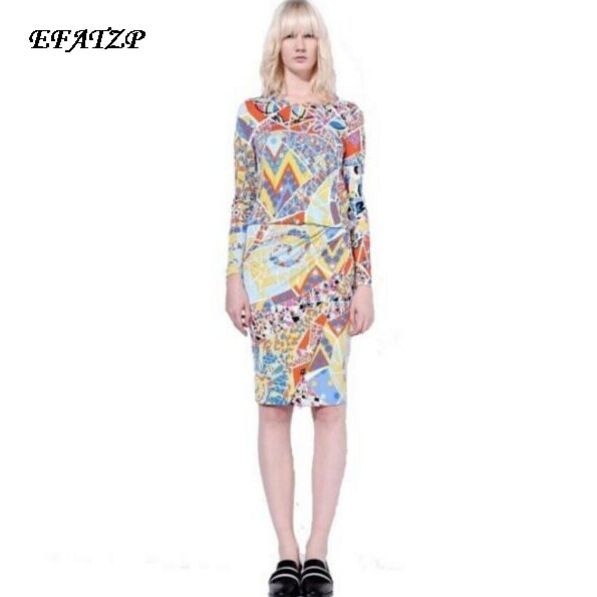 2e61ddb0dc7 2016 г. Весна люксовых брендов Джерси шелковое платье Для женщин Элегантный  Красочные с геометрическим принтом