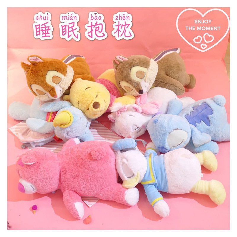 Donald Duck Winne Bear Stitch Dumbo Squirrel Marie Cat Strawberry Bear Sleeping Plush Pillow Stuffed animal Dolls toy for kids