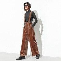 [OL] 2017 Sonbahar Kış Yeni Düz Renk Geniş Bacak Pantolon Toptan Büyük Boy kadın Bağbozumu Kadife Tulum Moda Pantolon Z970