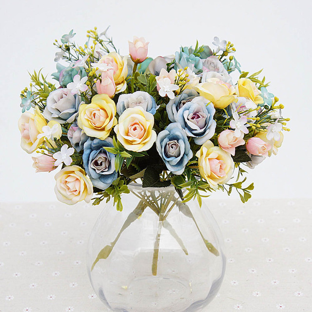 Artificial Flowers 13 Heads Bouquet Small Bud Silk Roses Simulation Green Leaves Home Vases