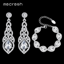 Mecresh Clear Crystal Bridal Jewelry Sets Teardrop Bracelet Earrings Wedding for Women Classic Style EH444+SL051