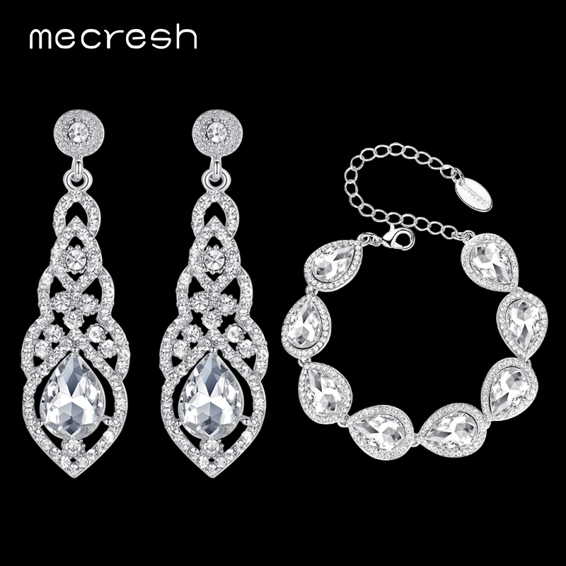 Mecresh Silver Color Crystal Bridal Wedding Jewelry Sets Clear Teardrop Bracelet Earrings Sets Jewelry for Women EH444+SL051