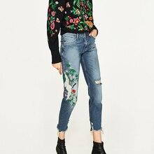 2017 Женщины Вышивка Джинсы женщина Женские модели крана печати мыть старый заусенцев девять очков джинсы Мода Slim брюки