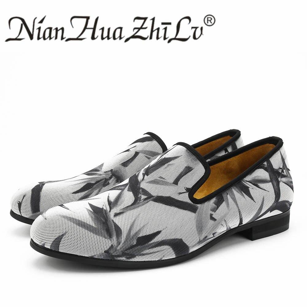Neue Stile herren Atmungsaktives Mesh Schuhe Druck Wirkung Casual Mode Männer Müßiggänger Hausschuhe Partei männer Wohnungen-in Freizeitschuhe für Herren aus Schuhe bei  Gruppe 1