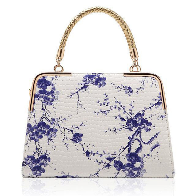 Chinese Wash Painting Style Stone Embossed PU Leather Handbag Women's PU Tote Bags Medium Size Handbag -C