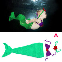 3pcs Baby Set Mermaid Sea Unique Warmers Toddlers Clothes Handmade Newborn Infant Photography Girls Baby Child