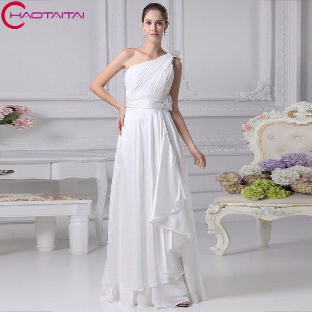Chiffon One shoulder A Line Beading Floor length Wedding Dress ...