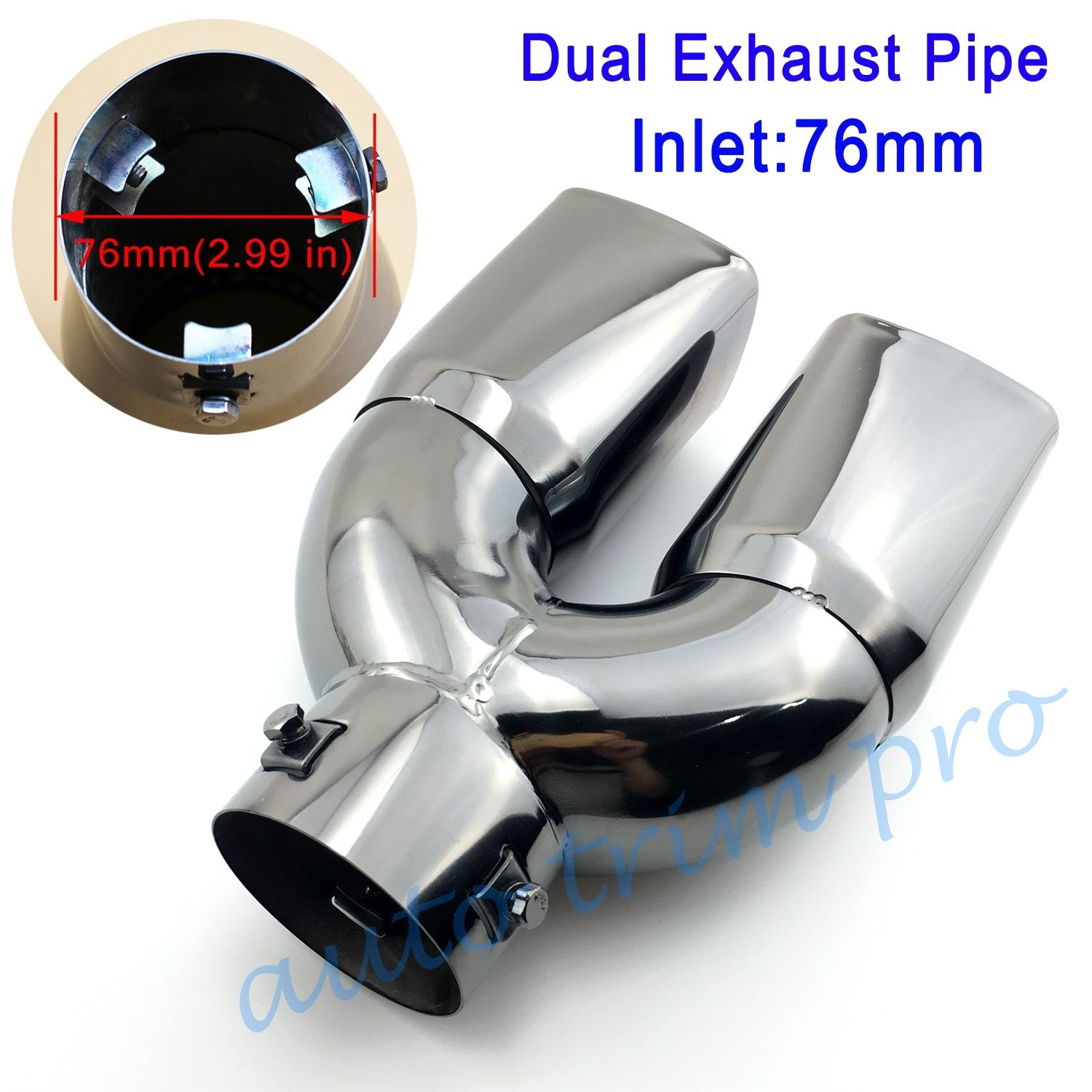 76mm 3 chrome universal car stainless