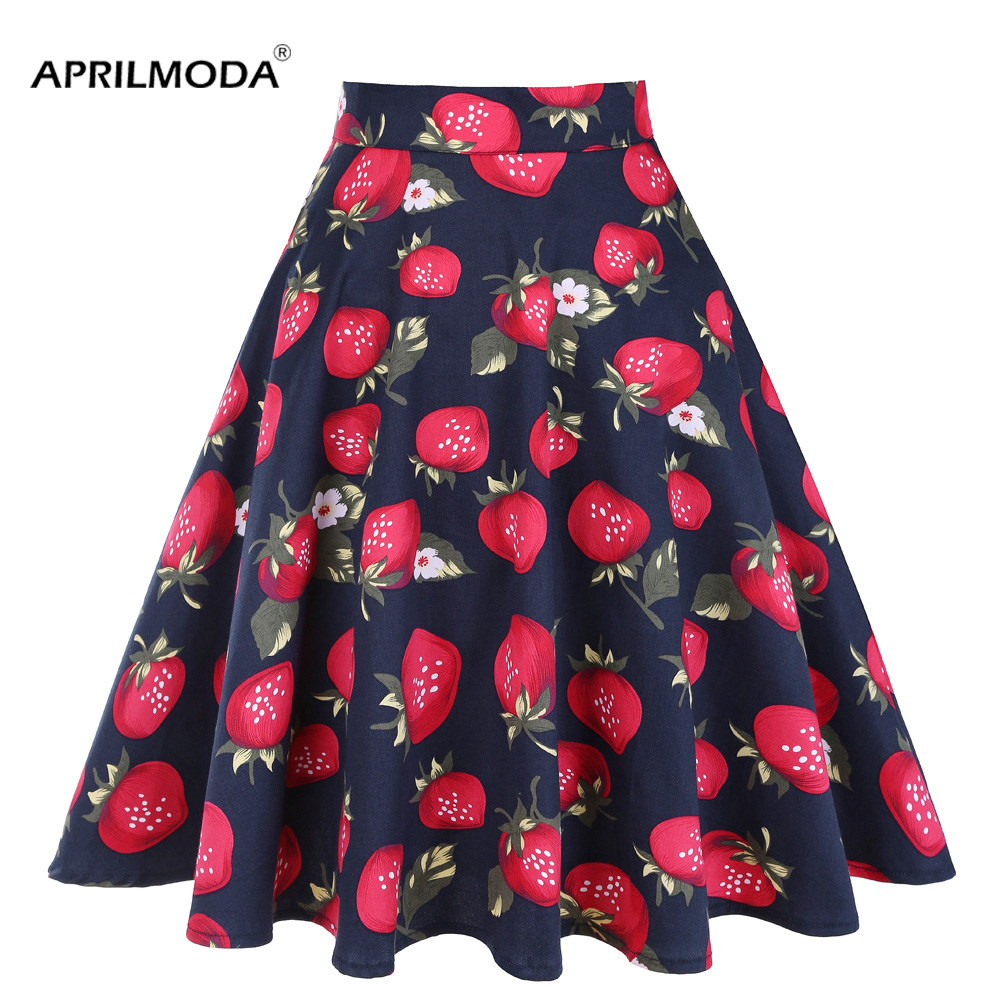 Women Rockabilly 50s 60s Pinup Swing Dress High Waist Pleated Party Midi Skirts
