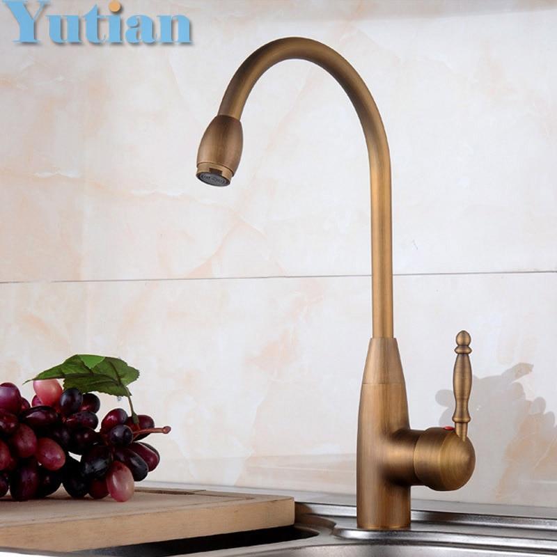 Free shipping Kitchen Faucet Antique Brass Swivel Bathroom Basin Sink Mixer Tap Crane torneira YT 6042