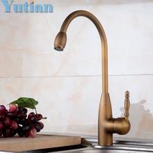Free shipping Kitchen Faucet Antique Brass Swivel Bathroom Basin Sink Mixer Tap Crane,torneira YT-6042